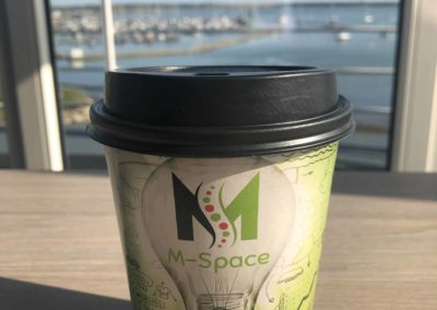 M-Space branded cup, stunning seaviews, local coworking hub Malahide, Fingal area.