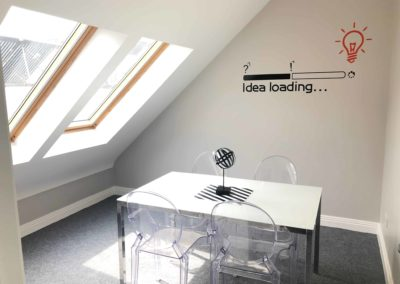 M-Space meeting room for 2-4 people. Bright and airy. Local coworking hub Malahide, Fingal area.