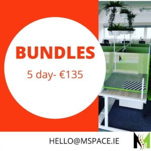 5 day bundle of daily desk offer. Book in when it suits you.