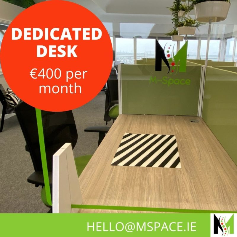 Do you need a Dedicated Desk to work? Our desks are in a bright and airy space overlooking Malahide and the estuary. This will be your desk to use when it suits you. Book today.