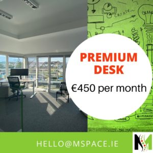 Need a desk to work. Look no further than M-Space Malahide. Premium front electric up/down desk with lockable pedestal in a stunning seaviews in a bright and airy coworking hub.